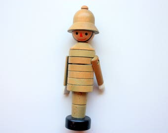 Vintage Wood  Toy Policeman marked Made in Czechoslovakia, Stacking Toy, Vintage Wooden Toy, Stacking Wood Toy