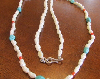 Freshwater Pearl, Coral and Turquoise Necklace