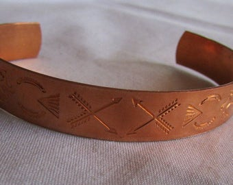 Copper Cuff Bracelet with Southwest Design