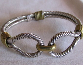 Sterling Silver and Brass Latching Bangle Bracelet from Mexico