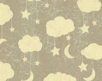 Grey Clouds Fabric-Love You to the Moon & Back-Timeless Treasures-Nursery Fabric-Children's Fabric. Baby Quilt Fabric. Moon and Stars Fabric