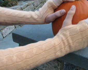 Fingerless Cashmere Gloves - Arm warmers -Typing Gloves - Repurposed Cashmere