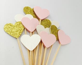 Perfect pink cream pastel and glitter cupcake toppers, flags. Romantic Rustic Wedding shower