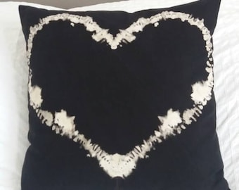 Hand dyed Black and white Heart cushion throw pillow cover emo goth punk