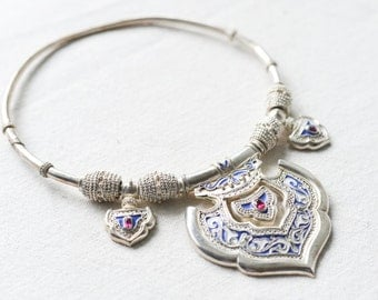 Unique Oriental Style Silver plated-Necklace boho chic-Hand-made-In a single copy- Filigree