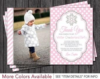 Winter Onederland Thank You Card • Winter Wonderland Thank You Cards • Light Pink and Silver