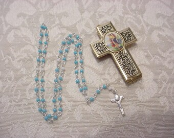 Vintage Guardian Angel Scrolled Cross Locket w/ Miniature Seedbead Seed Bead Rosary