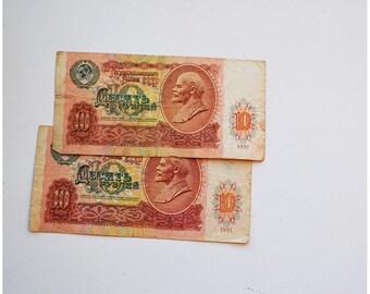 Set of 2 USSR banknotes