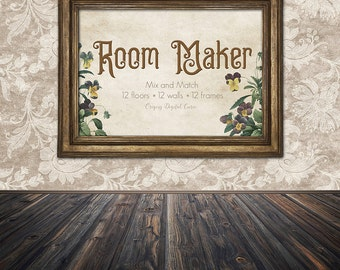 Digital Room Maker - Floors, Walls, and Photo Frames, scene creator paper backdrops, room backgrounds, photoshop template png vintage scenes