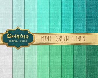 70% OFF Mint Linen Digital Paper, green linen burlap textures, linen scrapbook paper, green canvas mint aqua linen digital backgrounds