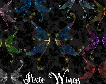 Pixie Wings Clipart, Fairy wings clip art, digital scrapbook collage, aceo fairy photo overlays, magic fantasy iridescent wings digital png