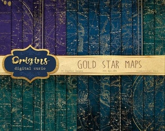 Gold Star Maps Digital Paper, Printable scrapbook paper, antique constellation sky map backgrounds, vintage star atlas, scrapboking