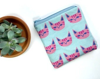 Pink Cats Zipper Pouch, i love cats, coin purse, cat lover, gift for her
