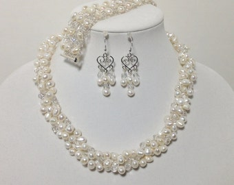 White Cultured Freshwater Pearl, Swarovski Crystal, Glass, Wire Crochet, Non-Tarnish Silver Plated Wire, Necklace, Bracelet, Earrings