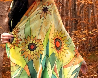 Sunflowers shawl. Silk chiffon scarf hand painted. Yellow, orange green scarf. Sunflowers pareo, sarong. Designer shawl hand painted.
