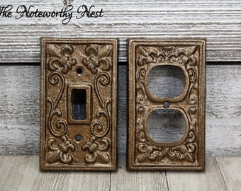 Lightswitch cover etsy any color cast iron outlet covers light switch covers switchplate sciox Image collections