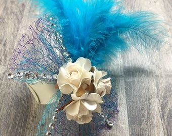 Feather and flower wrist corsage/ bracelet. Wedding, prom, race days.