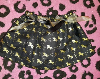 Girl's Magical Unicorn bow skirt black & metallic gold