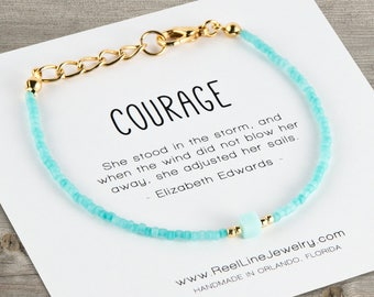 Courage Friendship Bracelet, Best Friend Bracelet, Mint and Gold, Mint and Silver, Best Friend Jewelry, Best Friend Gift, Friendship Gift