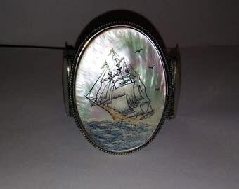 Vintage carved MOP nautical ship nickel silver large cuff bracelet