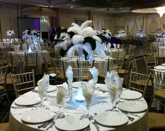 Black and White Ostrich Feather Centerpiece for Weddings/Birthday/Holiday parties/Great Gatsby/ Roaring 20's/Hollywood Glam Themes