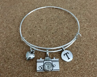 PHOTOGRAPHY Charm Bracelet-Silver-Plated Bangle - Camera Charm, Heart Charm, Initial Charm, Antique Silver Charms, Photo, Digital Camera