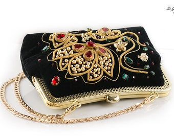 Small purse her Evening purse her Gold purse her Stylish purse her Velvet bag Sparkly clutch bag Jeweled party handbag her for Christmas