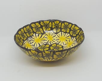 Handmade Small Ring and Trinket Bowl with Yellow and Black Flowers