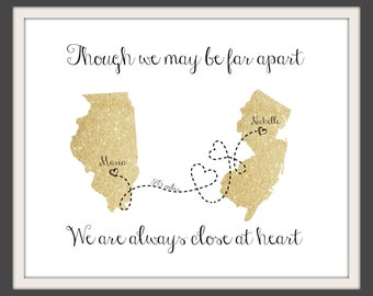 Best Friend Long Distance Present, Going Away Gift for BFF, Sister Gift, Birthday Gift for Grandma, Two- US State Personalized Map - 50377B