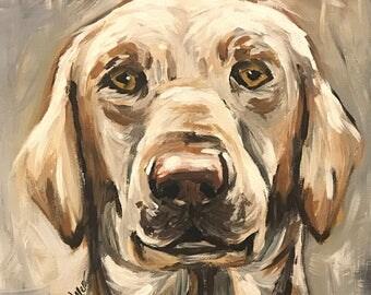 Yellow Lab Art Print.  Yellow Labrador Retriever canvas or paper art print. Labrador retriever art in neutrals