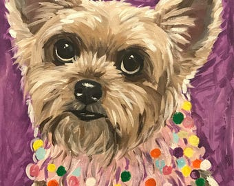 Yorkie art print, colorful yorker art, Yorkshire Terrier art print canvas and paper options