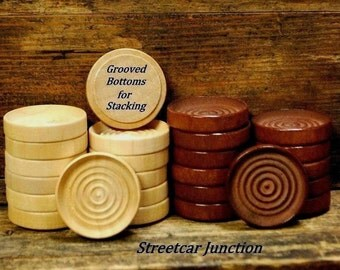 24 Wood Checkers - Game Pieces - Stackable - 12 Natural & 12 Stained Hardwood - FREE SHIP