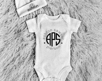 Newborn Onesie, Newborn onesie, Personalized Onesie, Baby shower gift, Chevron Monogram Onesie, monogram onesie