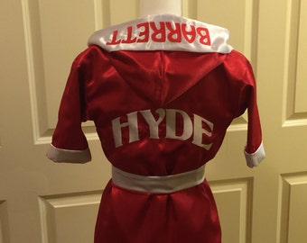 CUSTOM Made & Monogrammed Satin Toddler BOXING Robe Boxing Kimono Personalized