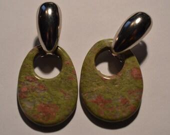 Retro 1970's-80's Blue Door Knocker earrings.  (1017005x1)*