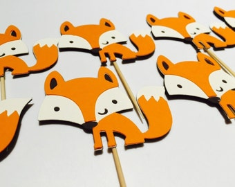 Handmade Cupcake Toppers - Fox Woodland Theme x 12