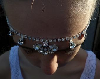 Bridal Forehead Band, Swarovski Brow band, Diamanté, Wedding hairpiece, Bridal Accessories,  Edith
