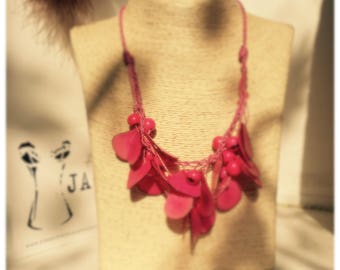 Fuchsia and pink tagua necklace
