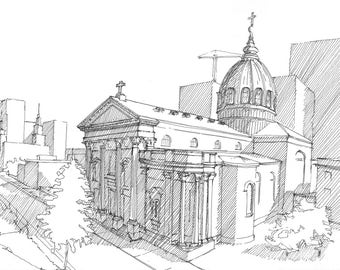 Ink sketch of the Philadelphia Cathedral