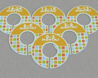 6 Baby Closet Dividers Organizers Assembled Dots Squares Baby Nursery Shower Gift. Baby Shower Gifts, Unisex closet dividers, baby nursery