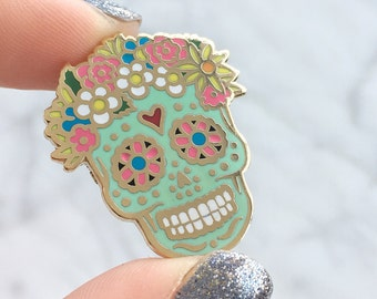 Sugar Skull Pin - Hard Enamel - Flair or Lapel Pin - Day of the Dead