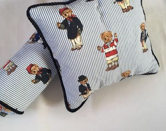 Set of Pillows made with Ralph Lauren Tebby Bear Fabric