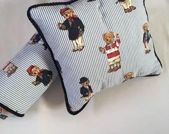 Set of Pillows made with Ralph Lauren Tebby Bear Fabric