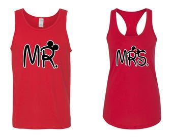 Mr. and Mrs. Matching Tank Tops~  couples matching tanks~ Mr and Mrs Honeymoon Tank Tops~ mrs racerback tank top