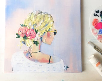 Spring girl in sunglasses - original canvas art - beach girl - floral art - girl painting
