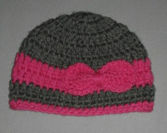Baby Bow Hat 3-6 months. READY TO SHIP