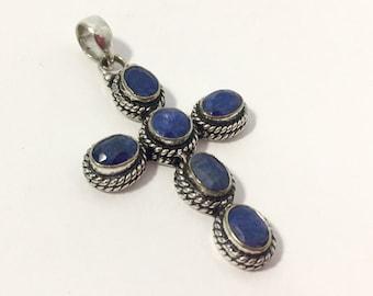 Genuine Sapphire Gemstones Sterling Silver Cross Pendant Wedding Gift Anniversary Gift Birthday Gift