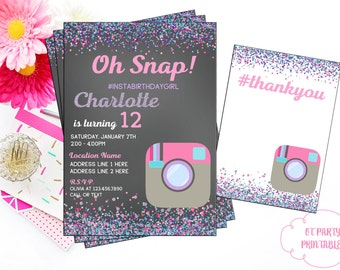 Printable Tween Digital Invitation - Social Media Invite - Custom Selfie Birthday Invitation - Pink and Purple Theme - Hashtag Invite
