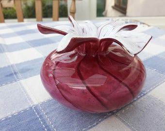 Mtarfa Maltese Glass Vase Raspberry & White Flower Top - Signed