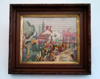 Victorian wool embroidered cottage & garden scene, hand cut walnut period frame